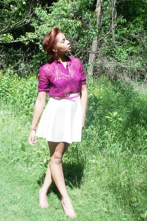 magenta thrifted top blouse - eggshell Boohoocom skirt