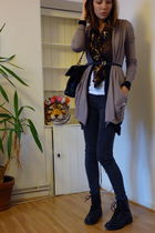 black Aldo boots - white American Apparel shirt - beige Aritzia sweater - black