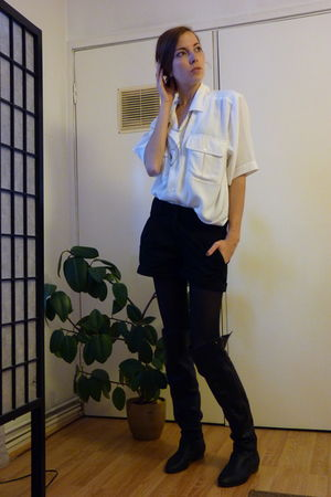 black H&M shorts - black Aldo boots - white thrifted blouse - gold thrifted neck