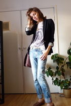 black Zara blazer - silver American Apparel t-shirt - blue H&M jeans - brown thr