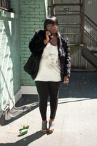 gift coat - joe fresh style leggings - Cheap Monday t-shirt - Forever 21 heels