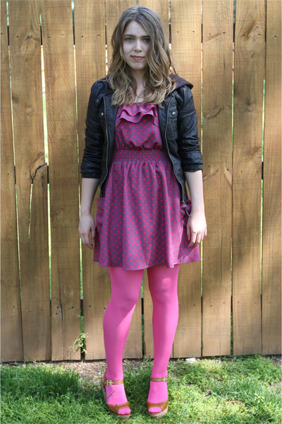 Magenta Polka Dotted Xhilaration Dresses Black Leather