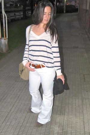 white H&M jeans - white H&M sweater - black blac scarf H&M scarf - dark khaki kh