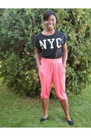 black Forever 21 shirt - orange H&M pants - black TOMS flats