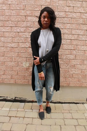 heather gray vintage shirt - black Aldo shoes - light blue Mossimo jeans