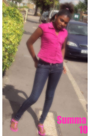 pink top - black pants - pink Primarki shoes