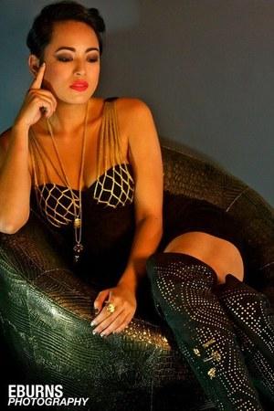 black YSL boots - black YSL dress - gold K&G necklace