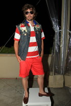 red vintage shirt Ralph Lauren shirt - navy custom Levis jacket