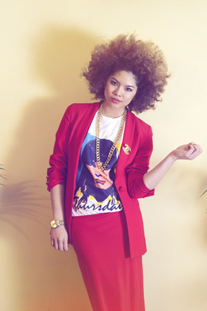 red Chanel dress - red Chanel blazer - white Prep Jerks shirt
