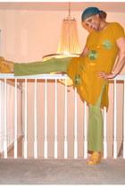 dress - lycra pants - Exhileration wedges