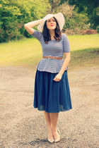 navy thrifted skirt - white flea market hat - navy peplum striped kohls shirt