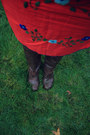 Red-embroidered-shop-vintage-minnie-dress-dark-brown-jcpenney-boots