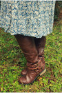 Dark-brown-jc-penney-boots-blue-floral-print-vintage-dress