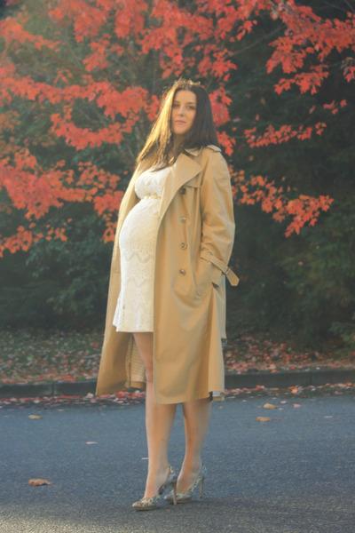 white lace Romy dress - nude trench coat London Fog coat
