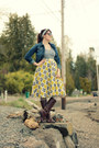 Navy-thrifted-jacket-dark-brown-oasap-sunglasses-mustard-thrifted-skirt
