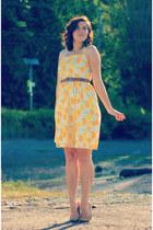 yellow lemon-print self-made dress
