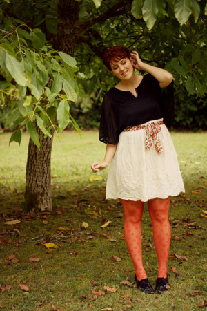 black lace-up thrifted boots - black lace boho Garage-sale shirt