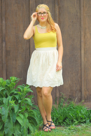 mustard Target top - gold thrifted necklace - cream embroidered thrifted skirt