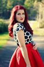 White-polka-dot-target-shirt-red-embroidered-oasap-skirt