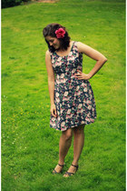 navy floral thrifted dress
