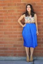 cream OASAP shirt - blue leaf print vintage skirt