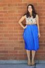 Cream-oasap-shirt-blue-leaf-print-vintage-skirt