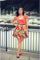 hot pink floral print thrifted skirt - orange thrifted shirt