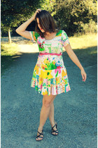 fox OASAP ring - floral colorful vintage dress - OASAP necklace - Target sandals
