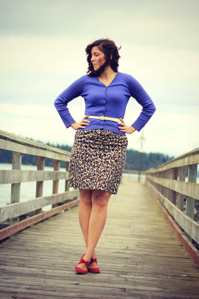 light brown animal print Target skirt - purple thrifted cardigan