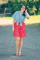 blue striped vintage blouse - red bicycle print Target skirt
