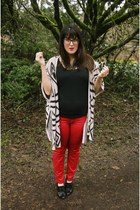beige graphic print OASAP cardigan - black thrifted boots - red Target jeans