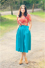 Red-floral-thrifted-shirt-green-thrifted-skirt-mustard-target-wedges