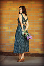 Forest-green-floral-print-bridgetown-vintage-dress-brown-thrifted-heels