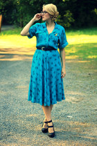 turquoise blue rose print vintage dress