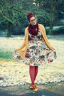 White-floral-print-vintage-dress-burnt-orange-target-tights