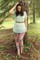 aquamarine lace The Jean Girl top - hot pink floral Target pants