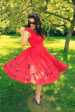 red eShakti dress - dark brown cat eye JCPenney sunglasses - navy Target heels