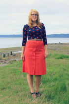 red thrifted vintage skirt - navy polka dot Fred Meyer shirt