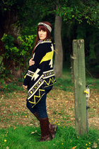 black OASAP cardigan - dark brown JCPenney boots - navy Target jeans