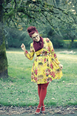 yellow OASAP dress - burnt orange Target tights - brick red handmade scarf