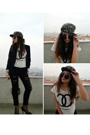 black spiked romwe hat - black Stradivarius blazer