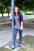 purple Francescas Collection cardigan - gray Target shirt - gray Forever 21 jean