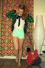 Aquamarine-gina-tricot-shorts-white-h-m-blouse-forest-green-h-m-cardigan