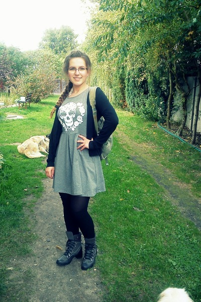 heather gray cotton H&M dress - gray leather Quazi boots