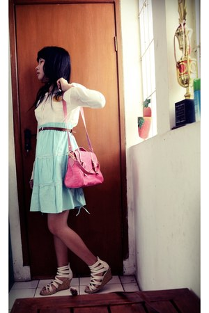 pink bag - white long sleeve onc top - light blue skirt - white wedges