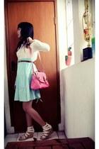 pink bag - white long sleeve onc top - light blue skirt - white wedges