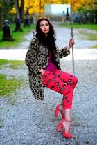 light brown vintage coat - hot pink DKNY pants