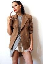 camel vintage blazer - periwinkle armani dress