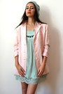 Light-pink-vintage-blazer-light-blue-moschino-dress
