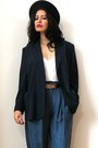 Navy-blazer-silk-vintage-jacket-dark-gray-felt-vintage-hat